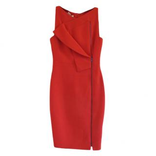Antonio Berardi Red Wool Crepe Zip Front Dress