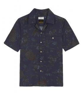 Percival Navy Pineapple Print Shirt