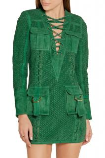 Balmain Green Suede Woven Lace-Up Dress