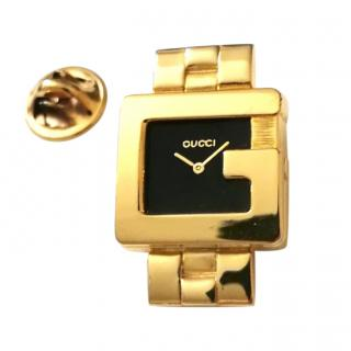 Gucci Gold Tone 3600 G Watch Pin Brooch
