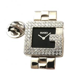 Gucci Crystal Embellished 3600 G Watch Pin Brooch