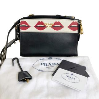Prada Black Calfskin Lips Shoulder Bag