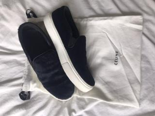 Celine Navy Pony Hair Slip-On Trainers