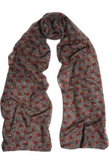 Saint Laurent Floral Print Wool Scarf