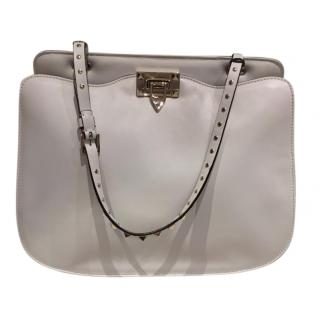 Valentino Garavani White Leather Rockstud Tote Bag