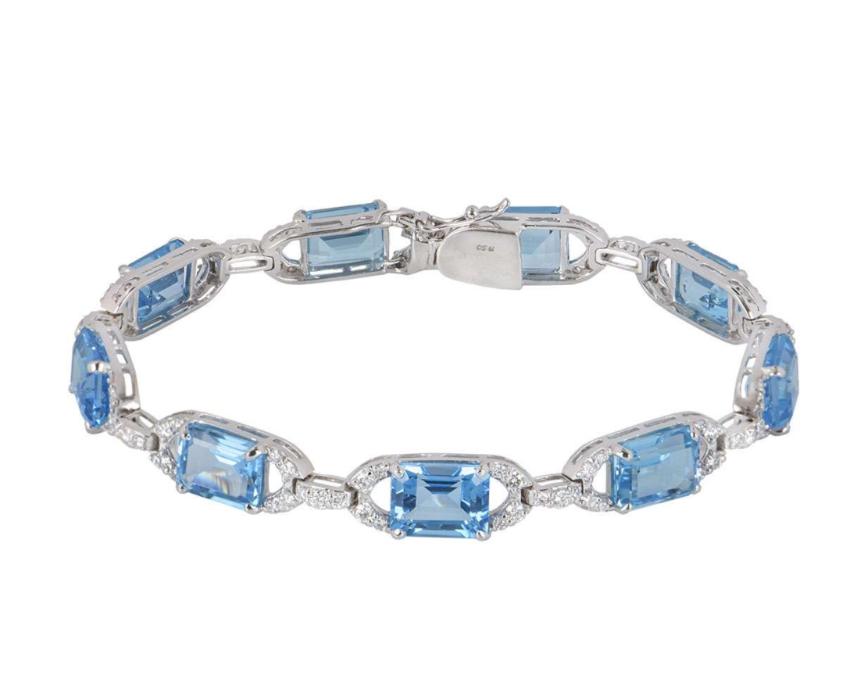 Bespoke White Gold Diamond & Topaz Bracelet