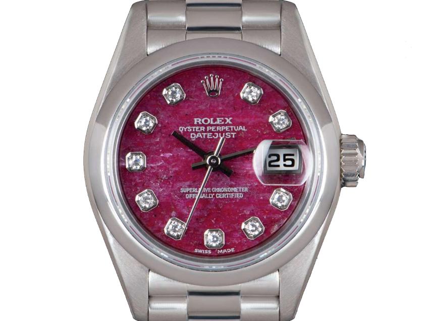 Rolex 26mm Platinum Set Rubellite Datejust Watch - 1996