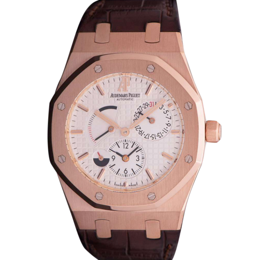 Audemars Piguet 39mm 18k Rose Gold Dual Time Royal Oak Watch