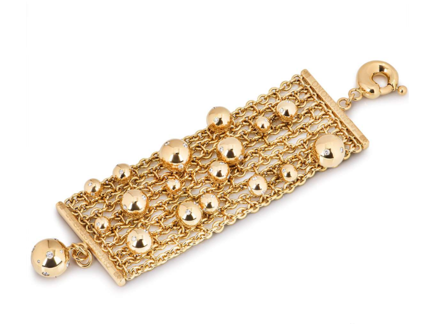 De Grisogono Yellow Gold Diamond Encrusted Mesh Bracelet