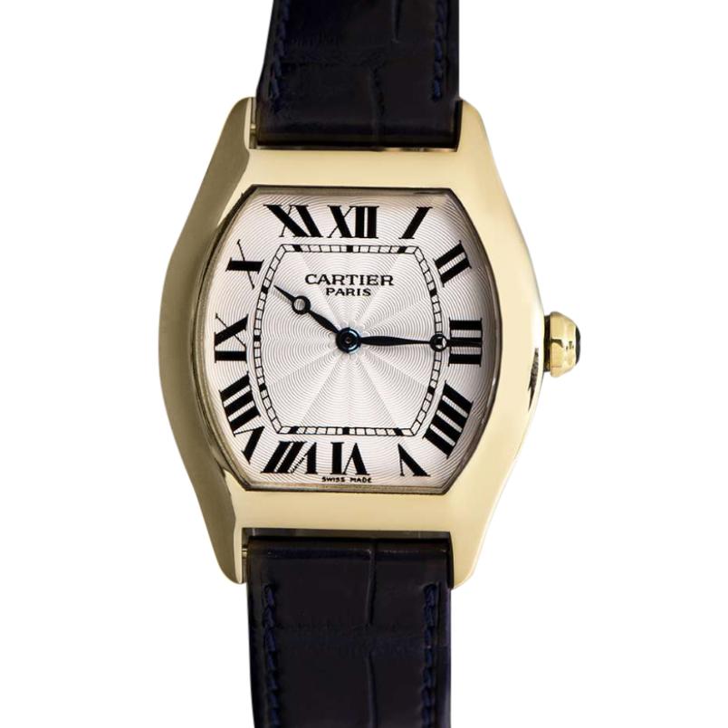 Cartier Unisex Tortue Mid-Size 18k Yellow Gold Wristwatch