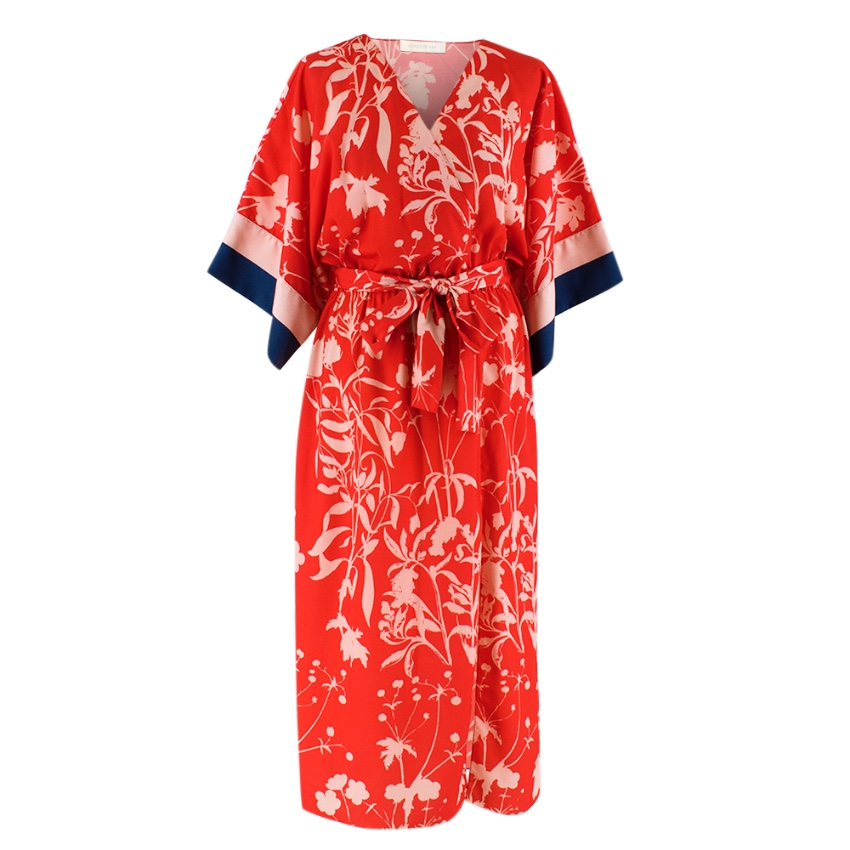 Borgo De Nor Red Wrap Dress with Floral Pattern