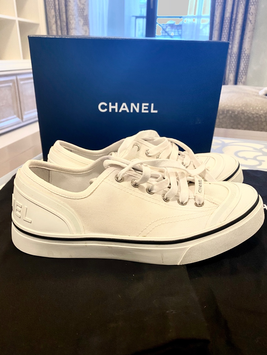 Chanel White Canvas Leather Trim Lowtop