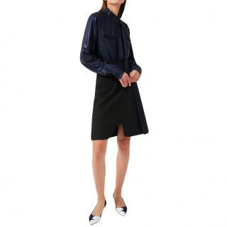 Sportmax Navy & Black Saddle Asymmetric Skirt