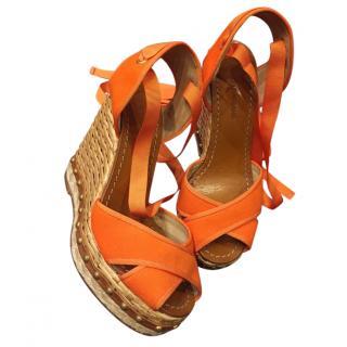 Dolce & Gabbana orange wedge sandals