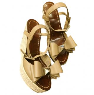 Valentino coffee leather  wedge sandals