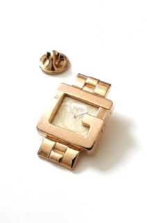 Gucci Vintage Rose gold tone metal watch lapel pin