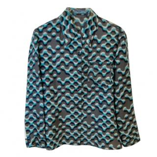 Prada turquoise and grey abstract pattern silk blouse