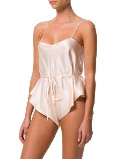 Maguy de Chadirac peach silk teddy suit