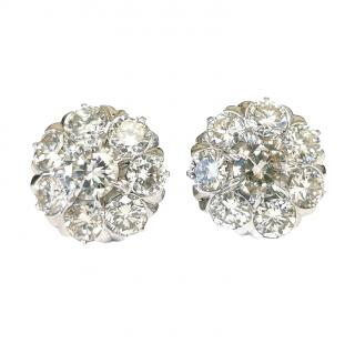 Bespoke 7.2 carat Art Deco diamond cluster earrings
