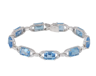 Bespoke White Gold Diamond & Topaz Bracelet