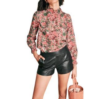 Sezane Black Leather Harlow Shorts