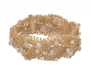 Bespoke Mesh Rose Gold Bracelet with Diamonds
