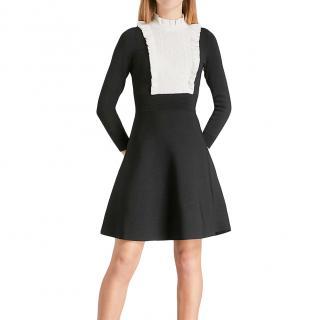 Sandro Contrast Bib Fit & Flare Dress
