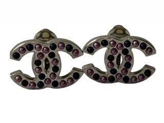 Chanel Gunmetal CC Pink Ball Embellished Clip-On Earrings