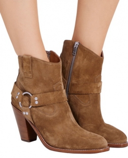 Saint Laurent Curtis Tan Suede Ankle Boots