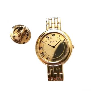 Gucci Gold Tone Watch Lapel Pin