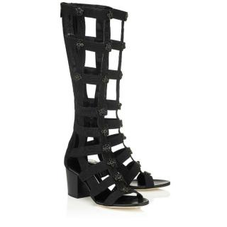 Jimmy Choo black Malini 65 gladiator boots/sandals