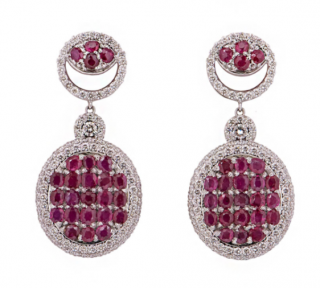 Bespoke Ruby & Diamond Set White Gold Drop Earrings