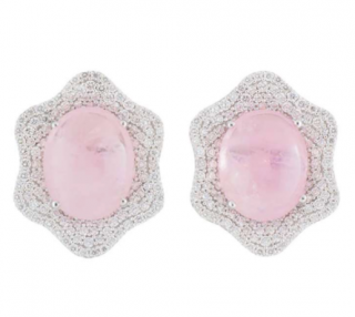 Bespoke White Gold Earrings With Diamonds & Pink Kunzite