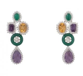 Bespoke Citrine, Diamond, Onyx & Amethyst Chandelier Earrings