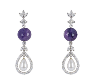 Bespoke Amethyst & Diamond Pearl Drop White Gold Earrings