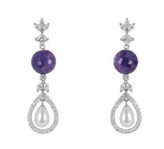 Bespoke Amethyst & Diamond Pearl Drop White Gold Earrings