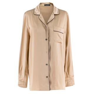Dolce & Gabbana Silk Pyjama Top in Gold