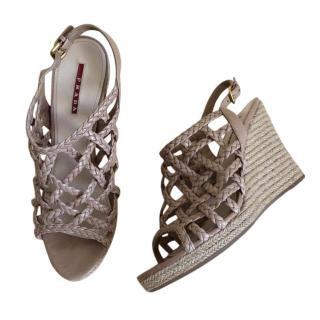 Prada nude wedge sandals