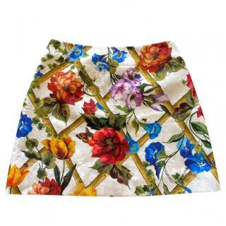 Dolce & Gabbana white floral print mini skirt
