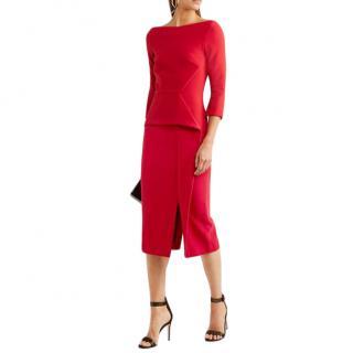 Roland Mouret Red Ardingly Crepe Peplum Dress