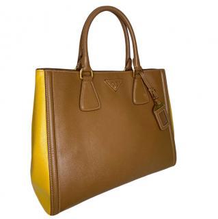 Prada Brown/Mustard two tone leather tote bag