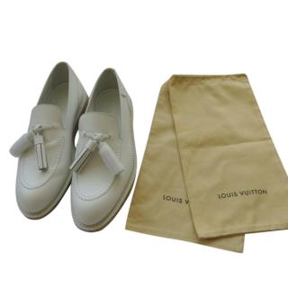 Louis Vuitton white  tasseled loafers - Sold out