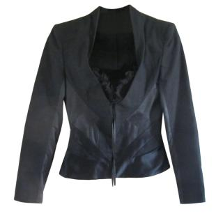 Alexander McQueen Black Satin Fitted Jacket