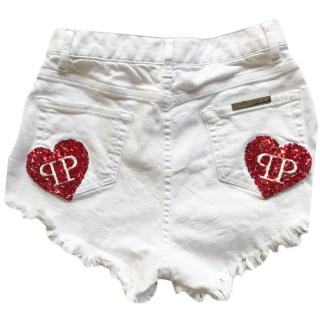 Philipp Plein White Heart Patch Distressed Denim Hot Pants