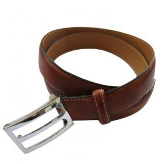 Berluti Antique Brown Leather belt