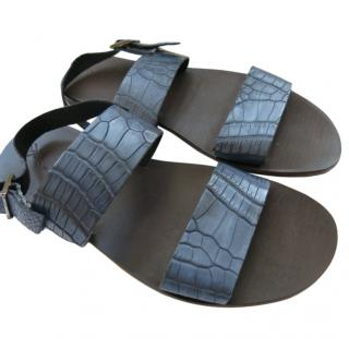 Sutor Mantellassi Blue Crocodile Leather Sandals