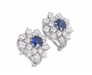 Bespoke Diamond & Sapphire Floral White Gold Earrings
