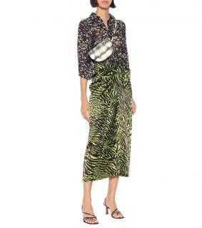 Ganni Lime Tiger Print Silk Satin Midi Skirt