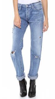 Goldsign Blue Straight Leg Distressed Boyfriend Jeans