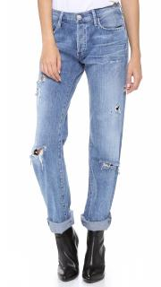 Goldsign Blue Straight Leg Distressed Boyfriend Jeans